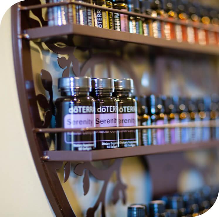 Bottles of supplements on shelves